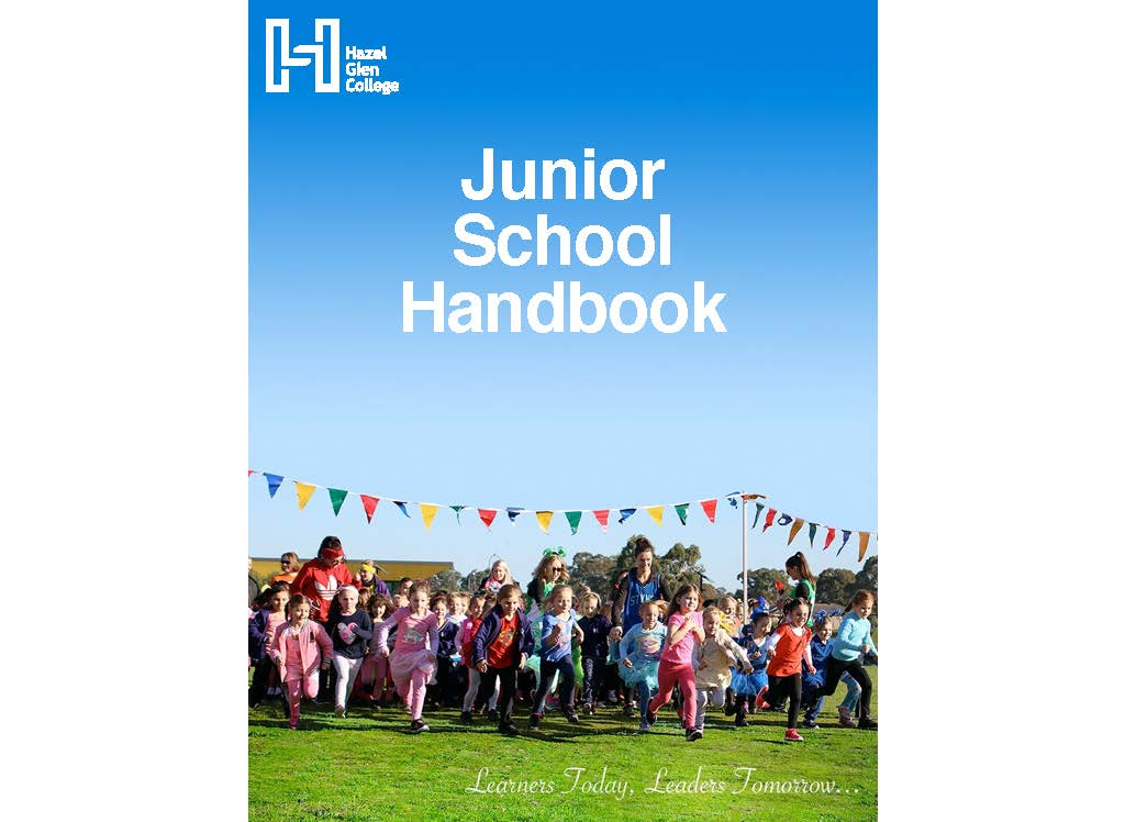 A picture of Junior School Handbook cover. Junior School students running at the start of a race, dressed in their House colours, with the tagline: Learners Today, Leaders Tomorrow.