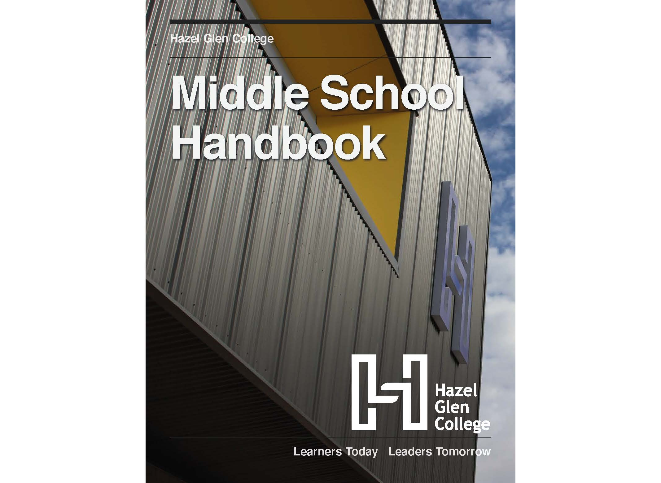 A picture of the Middle School Handbook cover featuring an image of the Middle School Building.